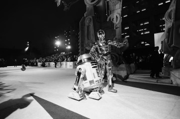 LOS ANGELES, CA - DECEMBER 09: (EDITOR NOTE: This image has been shot in black and white) R2-D2 (L) and C-3PO at Star Wars: The Last Jedi Premiere at The Shrine Auditorium on December 9, 2017 in Los Angeles, California. (Photo by Charley Gallay/Getty Images for for Disney) *** Local Caption *** R2-D2; C-3PO