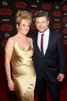 LOS ANGELES, CA - DECEMBER 09: Lorraine Ashbourne (L) and Actor Andy Serkis at Star Wars: The Last Jedi Premiere at The Shrine Auditorium on December 9, 2017 in Los Angeles, California. (Photo by Jesse Grant/Getty Images for Disney) *** Local Caption *** Andy Serkis; Lorraine Ashbourne