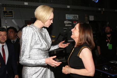 LOS ANGELES, CA - DECEMBER 09: Actor Gwendoline Christie (L) and Producer Kathleen Kennedy at Star Wars: The Last Jedi Premiere at The Shrine Auditorium on December 9, 2017 in Los Angeles, California. (Photo by Jesse Grant/Getty Images for Disney) *** Local Caption *** Gwendoline Christie; Kathleen Kennedy