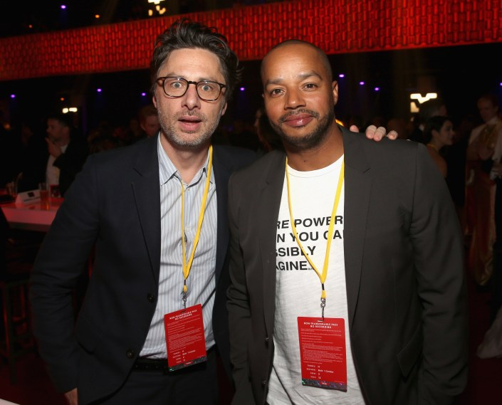 LOS ANGELES, CA - DECEMBER 09: Zach Braff (L) and Donald Faison at Star Wars: The Last Jedi Premiere at The Shrine Auditorium on December 9, 2017 in Los Angeles, California. (Photo by Jesse Grant/Getty Images for Disney) *** Local Caption *** Donald Faison; Zach Braff