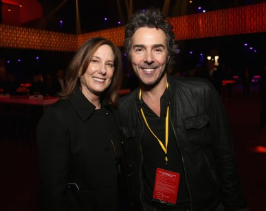 LOS ANGELES, CA - DECEMBER 09: Producer Kathleen Kennedy (L) and Director Shawn Levy at Star Wars: The Last Jedi Premiere at The Shrine Auditorium on December 9, 2017 in Los Angeles, California. (Photo by Jesse Grant/Getty Images for Disney) *** Local Caption *** Kathleen Kennedy; Shawn Levy