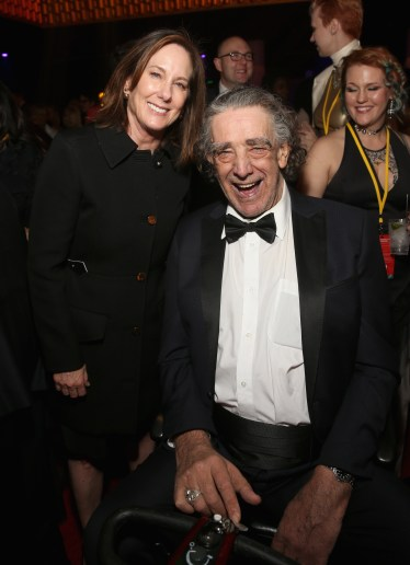 LOS ANGELES, CA - DECEMBER 09: Producer Kathleen Kennedy (L) and Peter Mayhew at Star Wars: The Last Jedi Premiere at The Shrine Auditorium on December 9, 2017 in Los Angeles, California. (Photo by Jesse Grant/Getty Images for Disney) *** Local Caption *** Peter Mayhew; Kathleen Kennedy