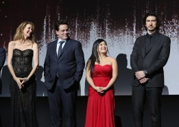 LOS ANGELES, CA - DECEMBER 09: (L-R) Actors Laura Dern, Benicio del Toro, Kelly Marie Tran and Adam Driver at Star Wars: The Last Jedi Premiere at The Shrine Auditorium on December 9, 2017 in Los Angeles, California. (Photo by Jesse Grant/Getty Images for Disney) *** Local Caption *** Laura Dern; Benicio del Toro; Kelly Marie Tran; Adam Driver