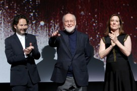 LOS ANGELES, CA - DECEMBER 09: (L-R) Producer Ram Bergman, Composer John Williams and Producer Kathleen Kennedy at Star Wars: The Last Jedi Premiere at The Shrine Auditorium on December 9, 2017 in Los Angeles, California. (Photo by Jesse Grant/Getty Images for Disney) *** Local Caption *** Ram Bergman; John Williams; Kathleen Kennedy