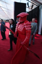 A Praetorian guard arrives on the red carpet for the world premiere of LucasfilmÕs Star Wars: The Last Jedi at the Shrine Auditorium in Los Angeles, December 9, 2017.(Photo: Alex J. Berliner / ABImages ).