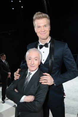 Anthony Daniels and Joonas Suotamo pose on the red carpet for the world premiere of LucasfilmÕs Star Wars: The Last Jedi at the Shrine Auditorium in Los Angeles, December 9, 2017. (Photo: Alex J. Berliner / ABImages )