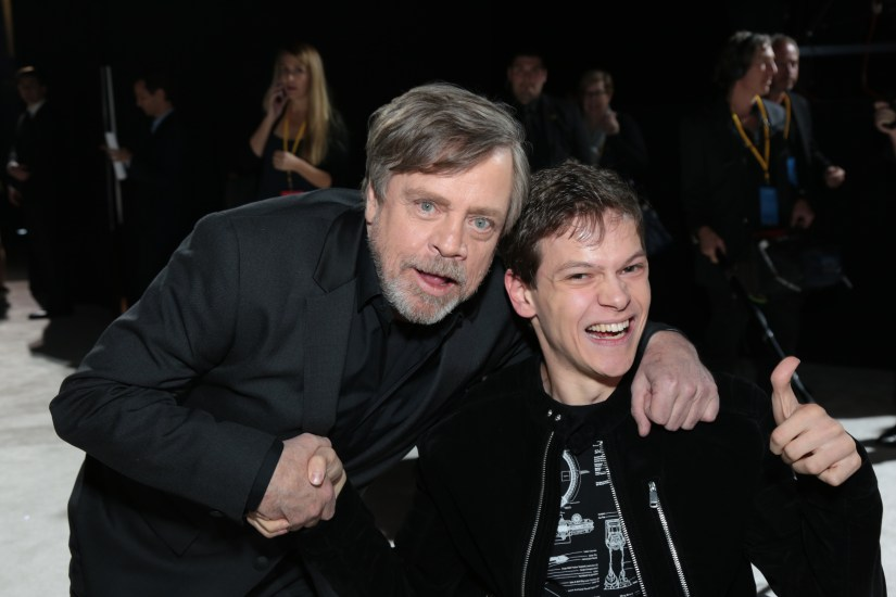 Mark Hamill and Micah Fowler pose on the red carpet for the world premiere of LucasfilmÕs Star Wars: The Last Jedi at the Shrine Auditorium in Los Angeles, December 9, 2017..(Photo: Alex J. Berliner / ABImages )