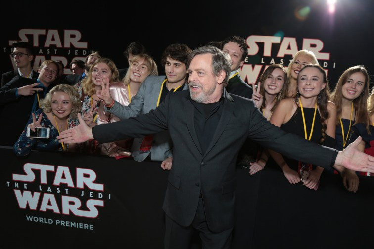Mark Hamill shares a moment with fans on the red carpet for the world premiere of LucasfilmÕs Star Wars: The Last Jedi at the Shrine Auditorium in Los Angeles, December 9, 2017..(Photo: Alex J. Berliner / ABImages )