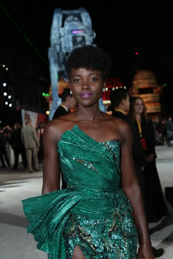 Lupita Nyong'o arrives on the red carpet for the world premiere of LucasfilmÕs Star Wars: The Last Jedi at the Shrine Auditorium in Los Angeles, December 9, 2017..(Photo: Alex J. Berliner / ABImages )
