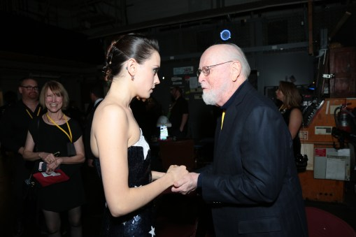 Daisy Ridley and John Williams share a moment backstage for the world premiere of LucasfilmÕs Star Wars: The Last Jedi at the Shrine Auditorium in Los Angeles, December 9, 2017..(Photo: Alex J. Berliner / ABImages )