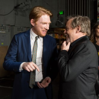 Domhnall Gleeson and Mark Hamill share a moment backstage for the world premiere of LucasfilmÕs Star Wars: The Last Jedi at the Shrine Auditorium in Los Angeles, December 9, 2017..(Photo: Alex J. Berliner / ABImages ).