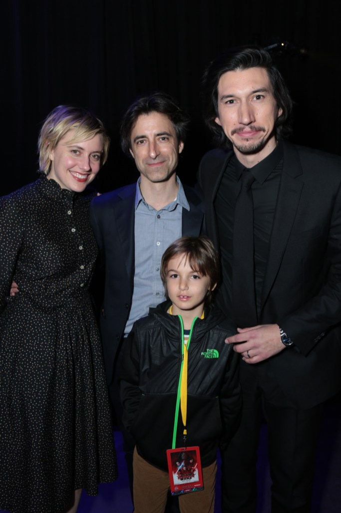 Greta Gerwig, Noah Baumbach, Rohmer Emmanuel Baumbach and Adam Driver arrive at the after party for the world premiere of LucasfilmÕs Star Wars: The Last Jedi at the Shrine Auditorium in Los Angeles, December 9, 2017..(Photo: Alex J. Berliner / ABImages ).