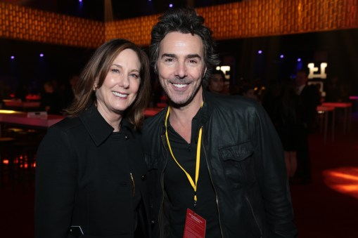 Kathleen Kennedy poses with Shawn Levy at the after party for the world premiere of LucasfilmÕs Star Wars: The Last Jedi at the Shrine Auditorium in Los Angeles, December 9, 2017..(Photo: Alex J. Berliner / ABImages ).