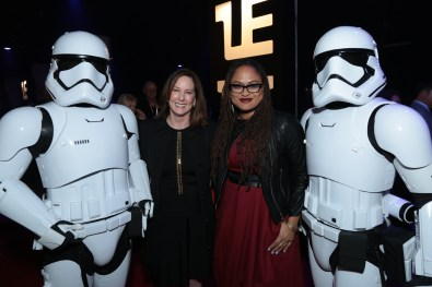 Kathleen Kennedy and Ava DuVernay pose with Storm Troopers at the after party for the world premiere of LucasfilmÕs Star Wars: The Last Jedi at the Shrine Auditorium in Los Angeles, December 9, 2017..(Photo: Alex J. Berliner / ABImages ).