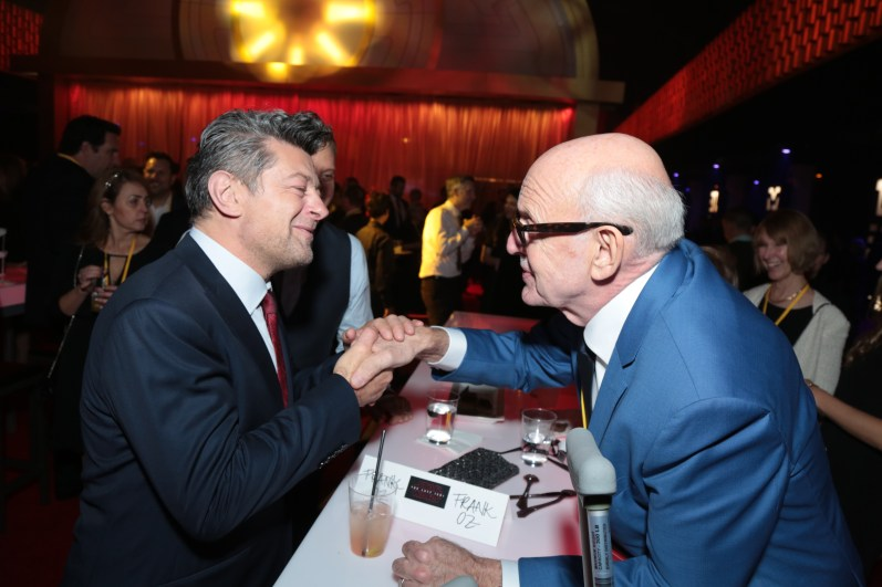 Andy Serkis and Frank Oz share a moment at the after party for the world premiere of LucasfilmÕs Star Wars: The Last Jedi at the Shrine Auditorium in Los Angeles, December 9, 2017..(Photo: Alex J. Berliner / ABImages )