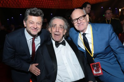 Andy Serkis, Peter Mayhew and Frank Oz pose together at the after party for the world premiere of LucasfilmÕs Star Wars: The Last Jedi at the Shrine Auditorium in Los Angeles, December 9, 2017..(Photo: Alex J. Berliner / ABImages )