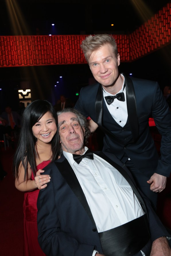 Kelly Marie Tran, Peter Mayhew and Joonas Suotamo pose together at the after party for the world premiere of LucasfilmÕs Star Wars: The Last Jedi at the Shrine Auditorium in Los Angeles, December 9, 2017..(Photo: Alex J. Berliner / ABImages )