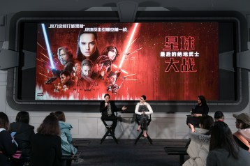Mark Hamill and Daisy Ridley attend the Shanghai press conference for the highly anticipated Star Wars: The Last Jedi.