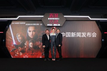Rian Johnson, Daisy Ridley and Mark Hamill attend the Shanghai press conference for the highly anticipated Star Wars: The Last Jedi.