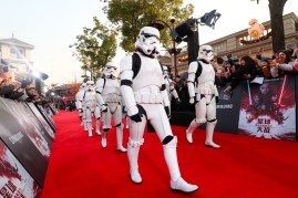 Stormtroopers arrive at the Shanghai premiere of the highly anticipated Star Wars: The Last Jedi.