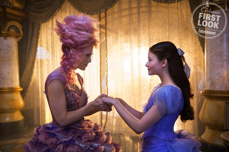 Kiera Knightley as the Sugar Plum Fairy and Mackenzie Foy as Clara in The Nutcracker and the Four Realms