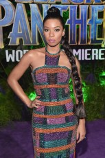 HOLLYWOOD, CA - JANUARY 29: Actor Angel Parker at the Los Angeles World Premiere of Marvel Studios' BLACK PANTHER at Dolby Theatre on January 29, 2018 in Hollywood, California. (Photo by Alberto E. Rodriguez/Getty Images for Disney) *** Local Caption *** Angel Parker