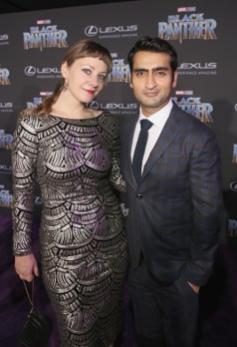 HOLLYWOOD, CA - JANUARY 29: Writers Kumail Nanjiani (R) and Emily V. Gordon at the Los Angeles World Premiere of Marvel Studios' BLACK PANTHER at Dolby Theatre on January 29, 2018 in Hollywood, California. (Photo by Jesse Grant/Getty Images for Disney) *** Local Caption *** Kumail Nanjiani; Emily V. Gordon