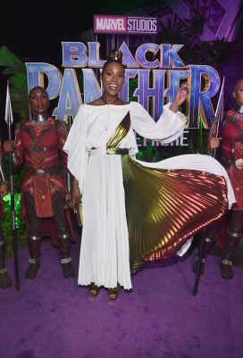 HOLLYWOOD, CA - JANUARY 29: Actor Issa Rae at the Los Angeles World Premiere of Marvel Studios' BLACK PANTHER at Dolby Theatre on January 29, 2018 in Hollywood, California. (Photo by Alberto E. Rodriguez/Getty Images for Disney) *** Local Caption *** Issa Rae