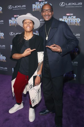 HOLLYWOOD, CA - JANUARY 29: Writer Lena Waithe (L) and rapper Snoop Dogg at the Los Angeles World Premiere of Marvel Studios' BLACK PANTHER at Dolby Theatre on January 29, 2018 in Hollywood, California. (Photo by Jesse Grant/Getty Images for Disney) *** Local Caption *** Lena Waithe; Snoop Dogg