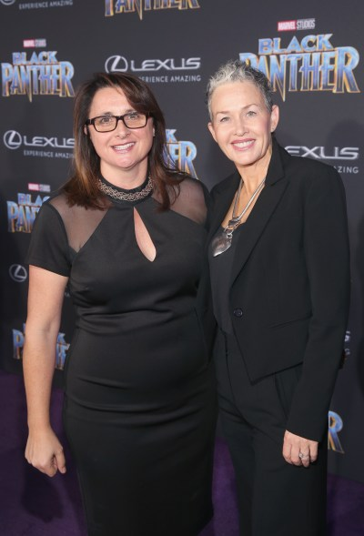 HOLLYWOOD, CA - JANUARY 29: Producer Victoria Alonso (L) and guest at the Los Angeles World Premiere of Marvel Studios' BLACK PANTHER at Dolby Theatre on January 29, 2018 in Hollywood, California. (Photo by Jesse Grant/Getty Images for Disney) *** Local Caption *** Victoria Alonso