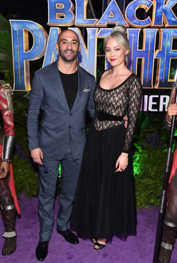 HOLLYWOOD, CA - JANUARY 29: Actor Pom Klementieff (R) and guest at the Los Angeles World Premiere of Marvel Studios' BLACK PANTHER at Dolby Theatre on January 29, 2018 in Hollywood, California. (Photo by Alberto E. Rodriguez/Getty Images for Disney) *** Local Caption *** Pom Klementieff