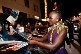 HOLLYWOOD, CA - JANUARY 29: Actor Lupita Nyong'o at the Los Angeles World Premiere of Marvel Studios' BLACK PANTHER at Dolby Theatre on January 29, 2018 in Hollywood, California. (Photo by Rich Polk/Getty Images for Disney) *** Local Caption *** Lupita Nyong'o