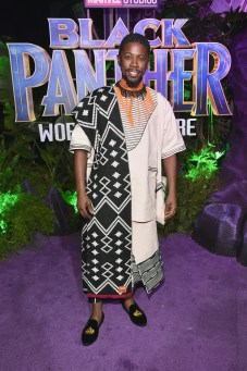 HOLLYWOOD, CA - JANUARY 29: Actor Atandwa Kani at the Los Angeles World Premiere of Marvel Studios' BLACK PANTHER at Dolby Theatre on January 29, 2018 in Hollywood, California. (Photo by Alberto E. Rodriguez/Getty Images for Disney) *** Local Caption *** Atandwa Kani