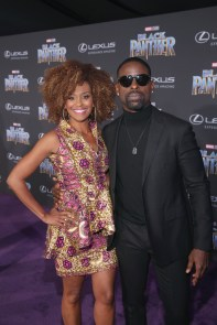 HOLLYWOOD, CA - JANUARY 29: Ryan Michelle Bathe (L) and actor Sterling K. Brown at the Los Angeles World Premiere of Marvel Studios' BLACK PANTHER at Dolby Theatre on January 29, 2018 in Hollywood, California. (Photo by Jesse Grant/Getty Images for Disney) *** Local Caption *** Ryan Michelle Bathe; Sterling K. Brown