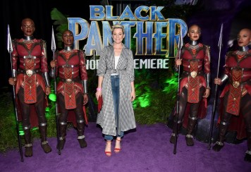 HOLLYWOOD, CA - JANUARY 29: Actor Elizabeth Banks (C) at the Los Angeles World Premiere of Marvel Studios' BLACK PANTHER at Dolby Theatre on January 29, 2018 in Hollywood, California. (Photo by Alberto E. Rodriguez/Getty Images for Disney) *** Local Caption *** Elizabeth Banks