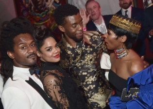 HOLLYWOOD, CA - JANUARY 29: Tessa Thompson (2nd from L) Chadwick Boseman (3rd from L) and recording artist Janelle Monae (R) at the Los Angeles World Premiere of Marvel Studios' BLACK PANTHER at Dolby Theatre on January 29, 2018 in Hollywood, California. (Photo by Alberto E. Rodriguez/Getty Images for Disney) *** Local Caption *** Tessa Thompson; Chadwick Boseman; Janelle Monae