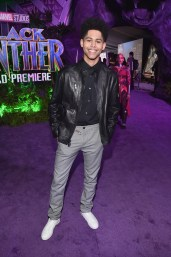HOLLYWOOD, CA - JANUARY 29: Actor Rhenzy Feliz at the Los Angeles World Premiere of Marvel Studios' BLACK PANTHER at Dolby Theatre on January 29, 2018 in Hollywood, California. (Photo by Alberto E. Rodriguez/Getty Images for Disney) *** Local Caption *** Rhenzy Feliz