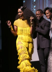 HOLLYWOOD, CA - JANUARY 29: Actor Angela Bassett at the Los Angeles World Premiere of Marvel Studios' BLACK PANTHER at Dolby Theatre on January 29, 2018 in Hollywood, California. (Photo by Jesse Grant/Getty Images for Disney) *** Local Caption *** Angela Bassett; Sterling K. Brown; Letitia Wright