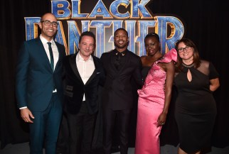 HOLLYWOOD, CA - JANUARY 29: (L-R) Executive producer Nate Moore, producer Louis D'Esposito, actors Michael B. Jordan and Danai Gurira, and producer Victoria Alonso at the Los Angeles World Premiere of Marvel Studios' BLACK PANTHER at Dolby Theatre on January 29, 2018 in Hollywood, California. (Photo by Alberto E. Rodriguez/Getty Images for Disney) *** Local Caption *** Louis D'Esposito; Victoria Alonso; Nate Moore; Michael B. Jordan; Danai Gurira