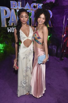 HOLLYWOOD, CA - JANUARY 29: Actors Chelsea Tavares (L) and Kylee Russell at the Los Angeles World Premiere of Marvel Studios' BLACK PANTHER at Dolby Theatre on January 29, 2018 in Hollywood, California. (Photo by Alberto E. Rodriguez/Getty Images for Disney) *** Local Caption *** Kylee Russell; Chelsea Tavares