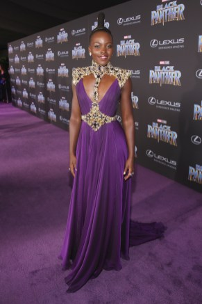 HOLLYWOOD, CA - JANUARY 29: Actor Lupita Nyong'o at the Los Angeles World Premiere of Marvel Studios' BLACK PANTHER at Dolby Theatre on January 29, 2018 in Hollywood, California. (Photo by Jesse Grant/Getty Images for Disney) *** Local Caption *** Lupita Nyong'o