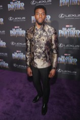 HOLLYWOOD, CA - JANUARY 29: Actor Chadwick Boseman at the Los Angeles World Premiere of Marvel Studios' BLACK PANTHER at Dolby Theatre on January 29, 2018 in Hollywood, California. (Photo by Jesse Grant/Getty Images for Disney) *** Local Caption *** Chadwick Boseman