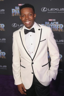 HOLLYWOOD, CA - JANUARY 29: Actor Denzel Whitaker at the Los Angeles World Premiere of Marvel Studios' BLACK PANTHER at Dolby Theatre on January 29, 2018 in Hollywood, California. (Photo by Jesse Grant/Getty Images for Disney) *** Local Caption *** Denzel Whitaker
