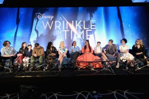 HOLLYWOOD, CA - FEBRUARY 25: (L-R) Actors Levi Miller, Rowan Blanchard, Deric McCabe, Zach Galifianakis, Mindy Kaling, Reese Witherspoon, Oprah Winfrey, Director Ava DuVernay, actors Storm Reid, Chris Pine, Gugu Mbatha-Raw and Screenwriter Jennifer Lee participate in the press conference for Disney's 'A Wrinkle in Time' in Hollywood, CA on March 25, 2018 (Photo by Alberto E. Rodriguez/Getty Images for Disney) *** Local Caption *** Levi Miller; Rowan Blanchard; Deric McCabe; Zach Galifianakis; Mindy Kaling; Reese Witherspoon; Oprah Winfrey; Ava DuVernay; Storm Reid; Chris Pine; Gugu Mbatha-Raw; Jennifer Lee