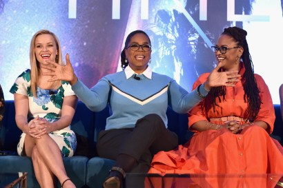 HOLLYWOOD, CA - FEBRUARY 25: (L-R) Actors Reese Witherspoon, Oprah Winfrey and Director Ava DuVernay participate in the press conference for Disney's 'A Wrinkle in Time' in Hollywood, CA on March 25, 2018 (Photo by Alberto E. Rodriguez/Getty Images for Disney) *** Local Caption *** Reese Witherspoon; Oprah Winfrey; Ava DuVernay