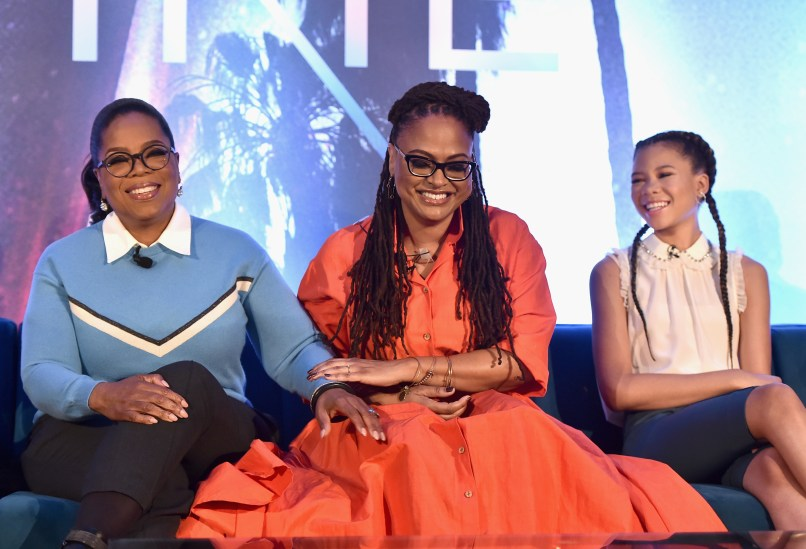 HOLLYWOOD, CA - FEBRUARY 25: (L-R) Actor Oprah Winfrey, Director Ava DuVernay and Actor Storm Reid participate in the press conference for Disney's 'A Wrinkle in Time' in Hollywood, CA on March 25, 2018 (Photo by Alberto E. Rodriguez/Getty Images for Disney) *** Local Caption *** Oprah Winfrey; Ava DuVernay; Storm Reid