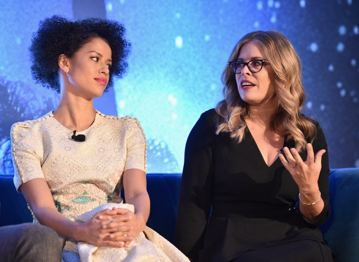 HOLLYWOOD, CA - FEBRUARY 25: Actor Gugu Mbatha-Raw (L) and Screenwriter Jennifer Lee participate in the press conference for Disney's 'A Wrinkle in Time' in Hollywood, CA on March 25, 2018 (Photo by Alberto E. Rodriguez/Getty Images for Disney) *** Local Caption *** Gugu Mbatha-Raw; Jennifer Lee