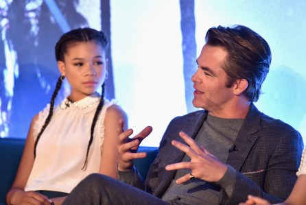 HOLLYWOOD, CA - FEBRUARY 25: Actors Storm Reid (L) and Chris Pine participate in the press conference for Disney's 'A Wrinkle in Time' in Hollywood, CA on March 25, 2018 (Photo by Alberto E. Rodriguez/Getty Images for Disney) *** Local Caption *** Storm Reid; Chris Pine
