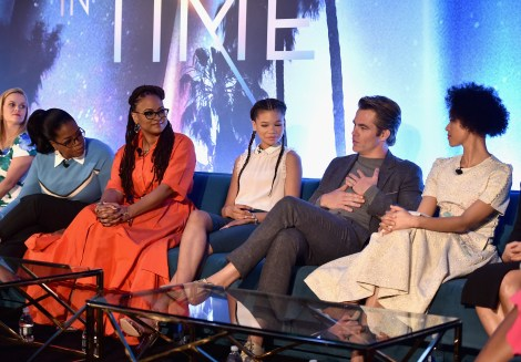 HOLLYWOOD, CA - FEBRUARY 25: (L-R) Actors Reese Witherspoon, Oprah Winfrey, Director Ava DuVernay, actors Storm Reid, Chris Pine and Gugu Mbatha-Raw participate in the press conference for Disney's 'A Wrinkle in Time' in Hollywood, CA on March 25, 2018 (Photo by Alberto E. Rodriguez/Getty Images for Disney) *** Local Caption *** Reese Witherspoon; Oprah Winfrey; Ava DuVernay; Storm Reid; Chris Pine; Gugu Mbatha-Raw