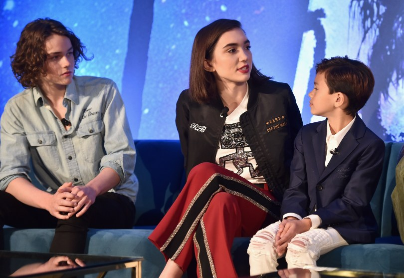 HOLLYWOOD, CA - FEBRUARY 25: (L-R) Actors Levi Miller, Rowan Blanchard and Deric McCabe participate in the press conference for Disney's 'A Wrinkle in Time' in Hollywood, CA on March 25, 2018 (Photo by Alberto E. Rodriguez/Getty Images for Disney) *** Local Caption *** Levi Miller; Rowan Blanchard; Deric McCabe